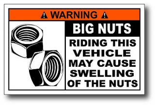 Big Nuts Funny Warning Decal Bumper Sticker Graphics Car Truck 4x4