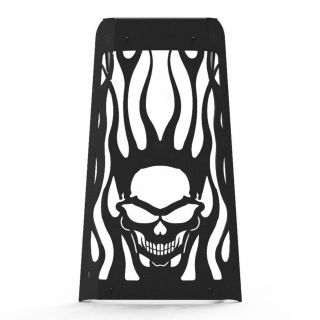 All Years Skull Flame Radiator Grille Cover Black Paint Powdercoated