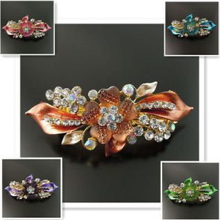 Antique Vintage Crystal Rhinestone Flower Hair Clip Barrette Jewelry