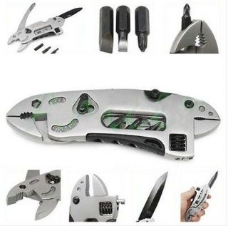 tool set adjustable wrench jaw+screwdriver+pliers+knife survival gear