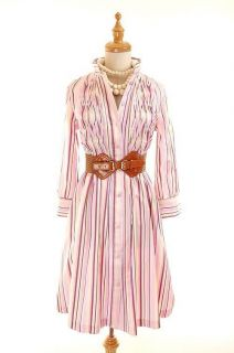 NWOT AUTH Luella Pink Striped Cotton Shirt Dress w Pleat Details 38