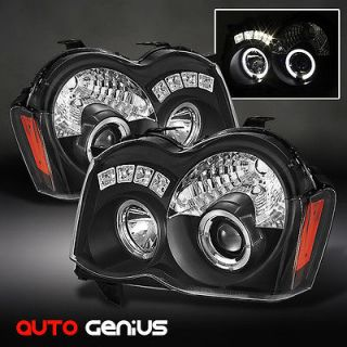 08 10 JEEP GRAND CHEROKEE BLACK HALO LED PROJECTOR HEADLIGHTS FRONT