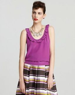 Kate Spade African Violet Purple Dive In Madie S/L Silk Top NWT 6