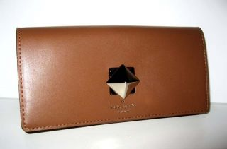 NWT KATE SPADE NEW BOND STREET CYNDY NATURAL BROWN LEATHER WALLET