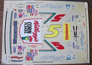 terry labonte #5 kelloggs chevy monte carlo kit decals1/24 1/25