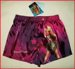 HANNAH MONTANA Girls Kids Satin BOXER SHORTS Boxers Pyjamas Sz 8 10 12