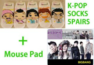 POP BIGBANG Low cut Womens Socks 5pairs+Mouse Soft PVC Pad #AC0