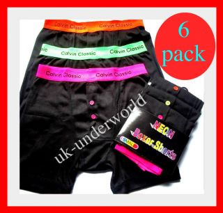 6pk MENS CALVIN CLASSIC BOXER SHORTS BOXERS BRIEFS SIZES S,M,L,XL NEON