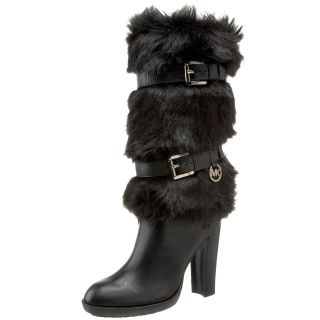 MICHAEL KORS CARLIE FAUX FUR SHAFT LOGO BUCKLE TALL SEXY BOOTS US 6.5