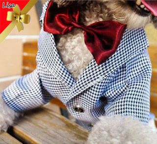 DOG CAT Wedding Party Lattice PET DOG Clothes outfit Suit XS,S,M,L,XL
