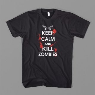 KEEP CALM KILL ZOMBIES CARRY ON DIE KID ZOMBIELAND WHITE ROB TEE FUNNY