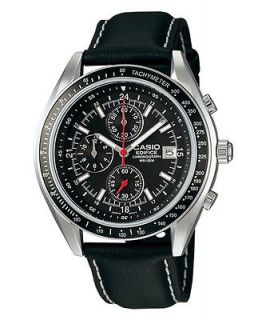 CASIO EDIFICE EF503L 1AV MENS BLACK LEATHER CHRONOGRAPH DRESS WATCH