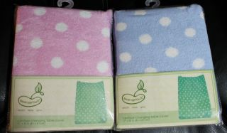 NEW CHAMOIS PLUSH CONTOUR CHANGING PAD COVER PINK or BLUE DOT NWT baby