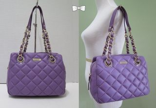 New Kate Spade Gold Coast Elizabeth Quilted Leather Handbag Purple