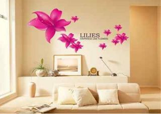 New Rose Red Pure Love Lily Flowers Removable wall sticker Art