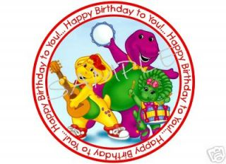 Edible Cake Image BARNEY Band Happy Birthday Circle