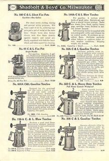 1939 AD C&L Clayton & Lambert Gas Gasoline Blow Torches Heavy Duty