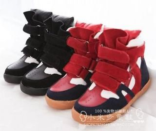 kids boys shoes casual leather high top sneaker red/black Free Ship