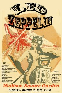 Led Zeppelin at Madison Square Garden Tour Poster 1975