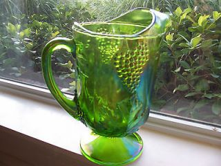 GREEN INDIANA GLASS LARGE PITCHER   HARVEST GRAPE PATTERN
