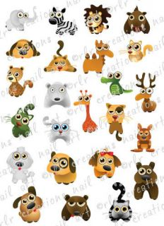 CUTE ZOO ANIMALS WATER SLIDE NAIL ART DECALS  GREAT FOR KIDS OR ADULTS