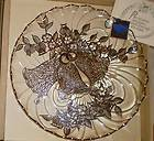 OVERLAY ON CRYSTAL WEDDING BELLS CAKE PLATE SILVER CITY NEW IN BOX