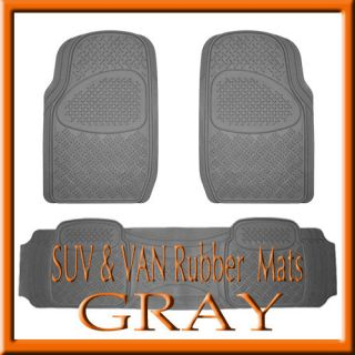 TOYOTA SIENNA HEAVY DUTY SEMI CUSTOM GRAY RUBBER FLOOR MATS / 3 PCS