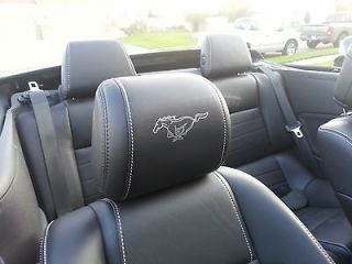 FORD MUSTANG HEADREST OUTLINED PONY DECALS   ONLY FOR LEATHER SEATS