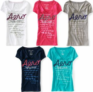 AEROPOSTALE WOMENS V NECK T SHIRT EMBROIDERED RIBBON LOGO TOP NWT XS S