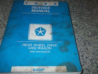 1988 Dodge RAM VAN WAGON RWD Service Shop Repair Manual OEM FACTORY