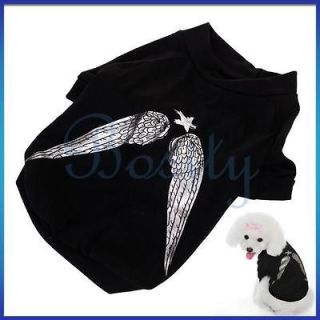 Wings Pet Dog Puppy Cotton T Shirt Tee Coat Clothes Apparel S M L XL