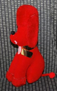 Vintage Plush Toy Stuffed Animal Red Poodle Puppy Dog