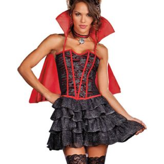 VAMPIRE Halloween Costume Red Corset Dress Cape Vixen 7603 Dreamgirl