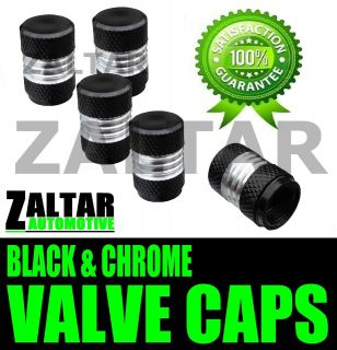 BLACK CHROME VALVE DUST TYRE WHEEL CAPS HYUNDAI PONY