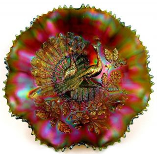 PEACOCKS by NORTHWOOD ~ INCREDIBLE GREEN CARNIVAL GLASS 8 RUFFLE BOWL
