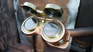 flip up lenses STEAMPUNK GOGGLES fits over glasses VENTED Soft Face