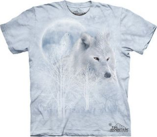 THE MOUNTAIN WHITE WOLF MOON ARCTIC WOLVES HABITAT ADULT SIZE LARGE T