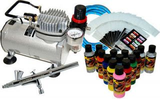 NAIL ART AIRBRUSH KIT SET Air Compressor Pai​nt 20pk Stencil Design