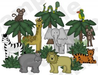 JUNGLE SAFARI ZEBRA GIRAFFE MONKEY TIGER MURAL NURSERY BABY WALL