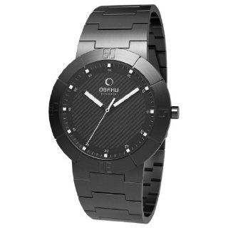 Obaku Mens V140LBBSB Black Stainless Steel Quartz Watch with Black