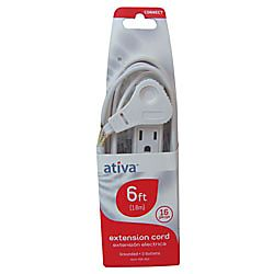 Ativa 3 Outlet Indoor Extension Cord 6 White by Office Depot