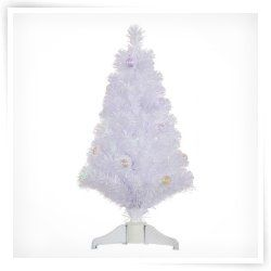 Vickerman 3 ft. White Fiber Optic Christmas Tree with Ball Ornaments