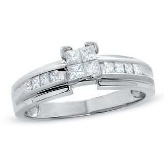 CT. T.W. Quad Princess Cut Diamond Engagement Ring in 14K White