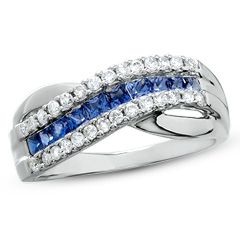Princess Cut Sapphire Criss Cross Ring in 14K White Gold with Diamond