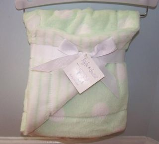 KYLE & AND DEENA GREEN WHITE STRIPE DOT BABY BLANKET SOFT PLUSH