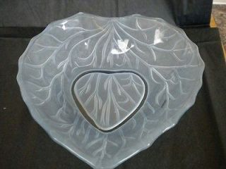 ART DECO FROSTED BLUE GLASS LEAF SHAPED FRUIT or SALAD BOWL