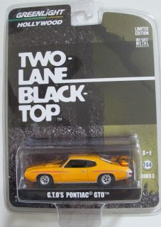 GREENLIGHT HOLLYWOOD S3 TWO LANE BLACK TOP MOVIE CAR 1970 PONTIAC GTO