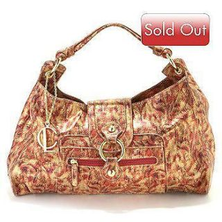 LAPSON RED DONATA REPTILE PRINT ITALIAN LEATHER HOBO HANDBAG RV $371