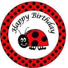 24 Edible cake toppers decorations birthday polka black red ladybird