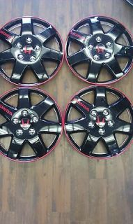 BLACK/RED HUBCAP WHEELCOVER SET HONDA FIT CIVIC ACCORD ACURA INTEGRA